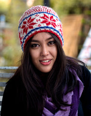 Nepalese Pure Woolen Red White and Blue Mix Snow Flake Pattern Sherpa Winter Hat WO60C - nepacrafts - 1