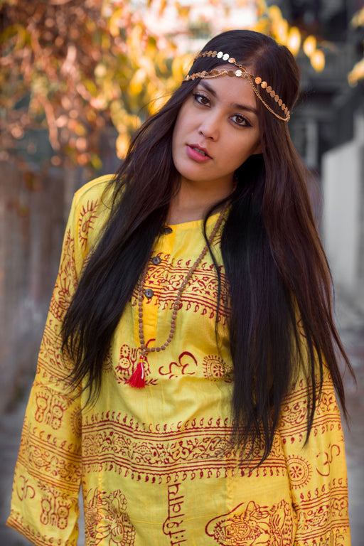 Yellow Om Kurtha Shirt