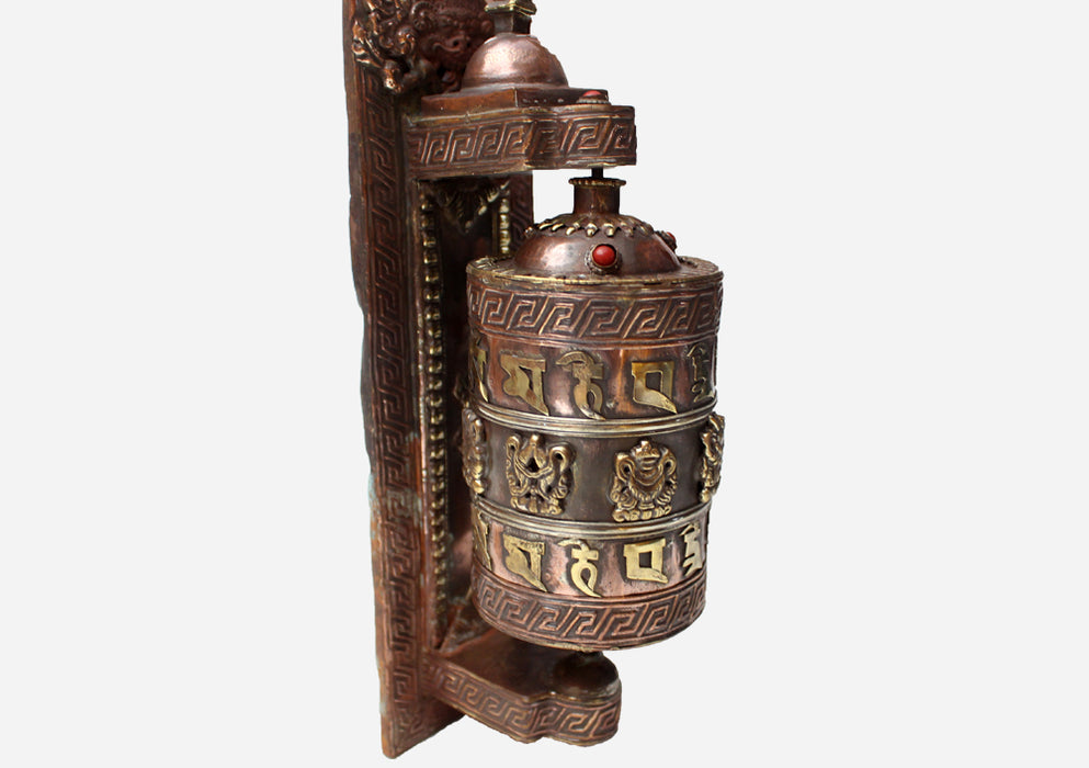 Om Mani Tibetan Copper Prayer Wheel Frame - nepacrafts