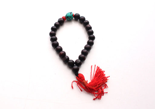 Dark Rosewood Wrist Mala with Turquoise and Coral Spacer - nepacrafts