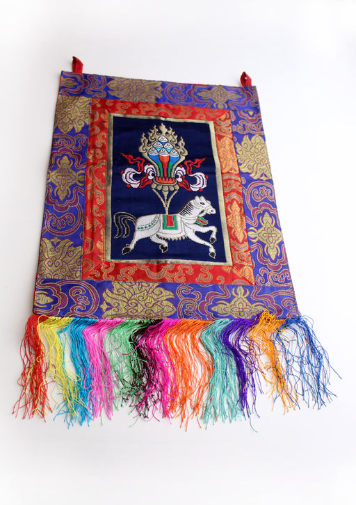 Tibetan Windhorse Silk Brocade Wall Hanging Banner with Colorful Tassel - nepacrafts