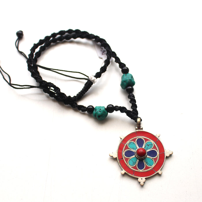 Colorfully Inlaid Flower Pendant - nepacrafts