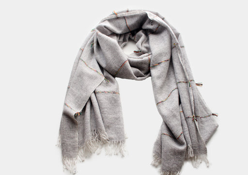 100% Plain Gray Cashmere Shawl with Multicolor Lining - nepacrafts