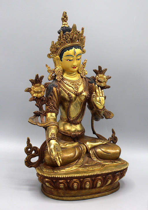 Partly Gold Plated Magical White Tara Statue