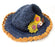 Navy Blue Flower Hemp Hat - nepacrafts