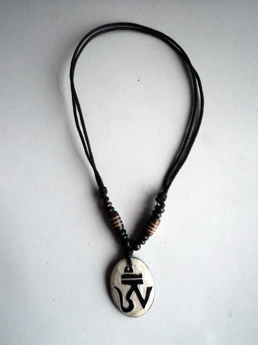 Tibetan Om Bone Pendant Necklace - nepacrafts