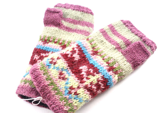 Pink and Cream Lining Finger less Gloves /Hand Warmers - nepacrafts