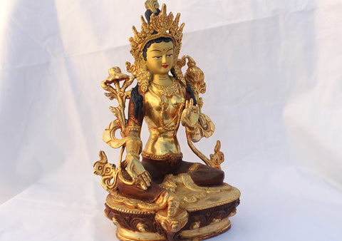 8 Inch High Gold Plated Green Tara Statue SSST354B