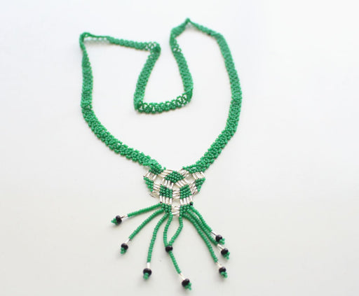 Green Color Glass Beads Women's Necklace - nepacrafts