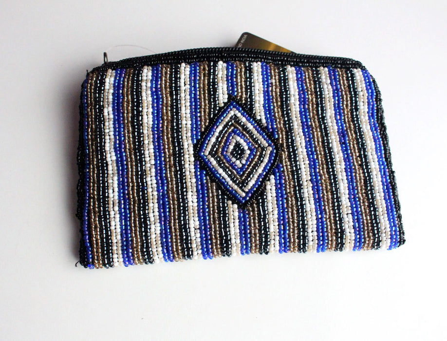 Stripe Crocheted Czech Beads Rectangular Coin Purse - nepacrafts