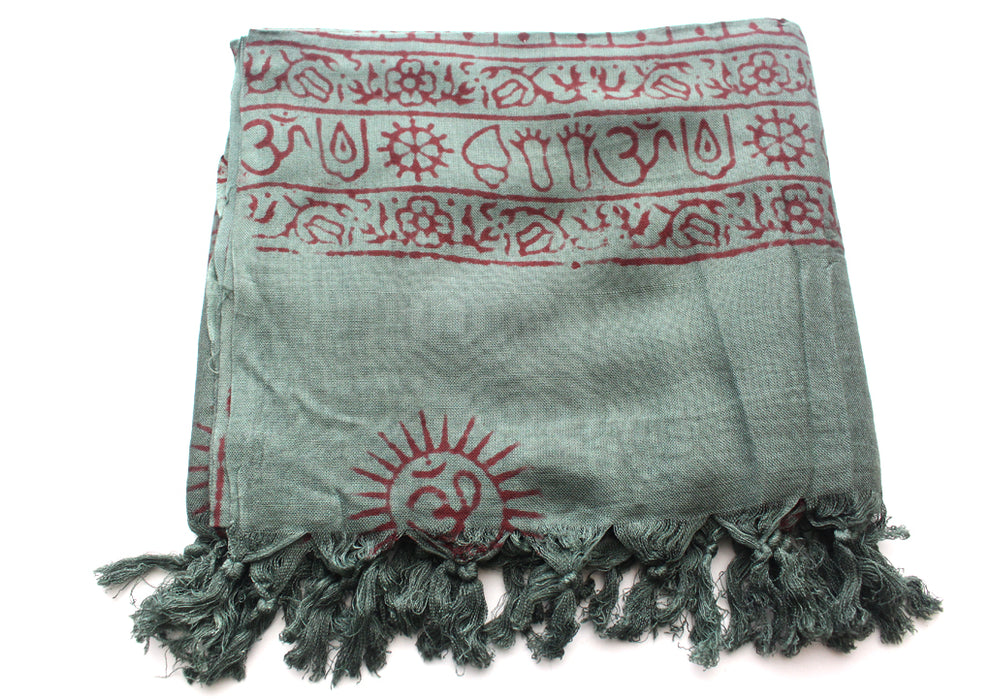 Hindu Dieties Lord Shiva and Ganesha Printed Cotton Prayer Summer Shawl/Wraps - nepacrafts