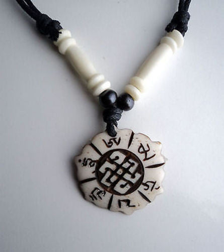 Om Mani Mantra and Endless Knot Bone Necklace - nepacrafts