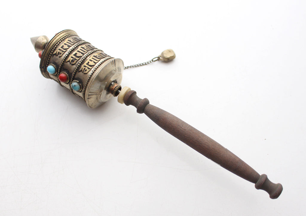 Tibetan Buddhist Handheld Spinning Prayer Wheel with Inlaid Coral and Turquoise - nepacrafts