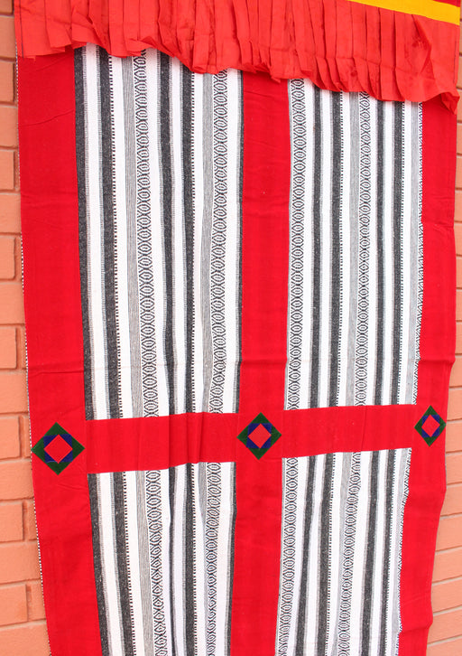 Hand Woven Bhutanese Fabric with Velvet Border Door Curtain Cover - nepacrafts