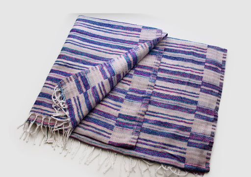 Pink and Blue Stripe White Himalayan Woolen Blanket Wrap
