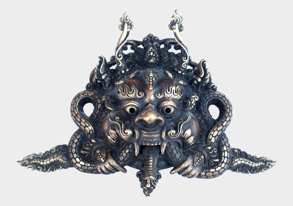 Tibetan Cheppu Wall Hanging Mask, Brass Artwork, Tibetan Home Decor MSK05 - nepacrafts