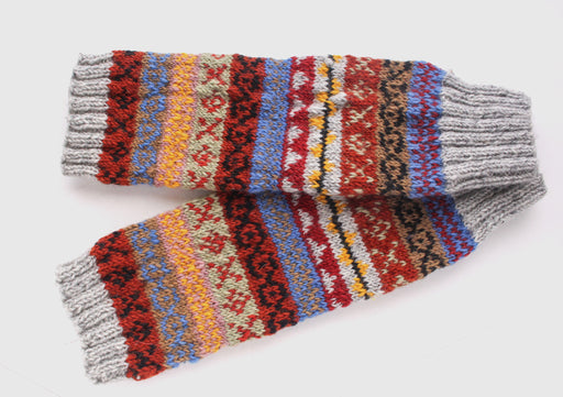Multicolor Gray Red Pure Wool Legwarmers - nepacrafts