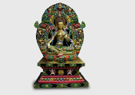 "19.5"" Majestic Green Tara Gold Plated Statue - nepacrafts"