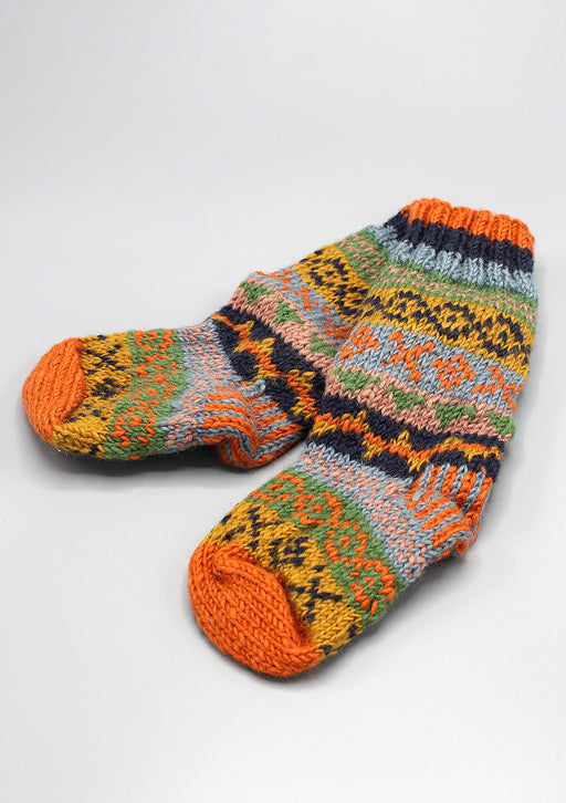 Orange Pure and Soft Wool Winter Children Woolen Socks