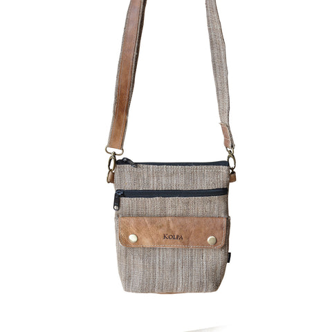 Pure Nettle Cross Body Bag with Leather Lining