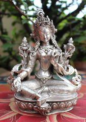 "925 Sterling Silver Majestic Green Tara Statue 5.5"" - NepaCrafts"