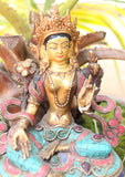 "6"" High Glowing Green Tara Statue with Inlaid Turquoise"