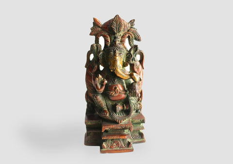 "Blessing Ganesha On a Singhasan with Kalasha Parwa "" High Brass Statue BRST05"