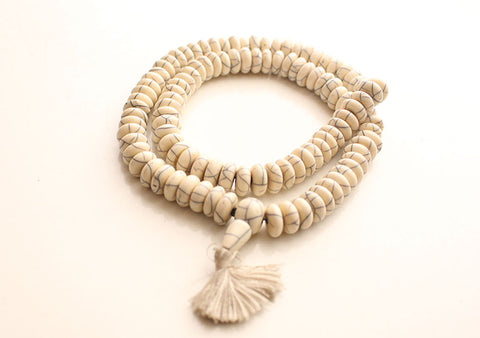 Disk Shaped White Resin Unique Design Prayer Mala - NepaCrafts