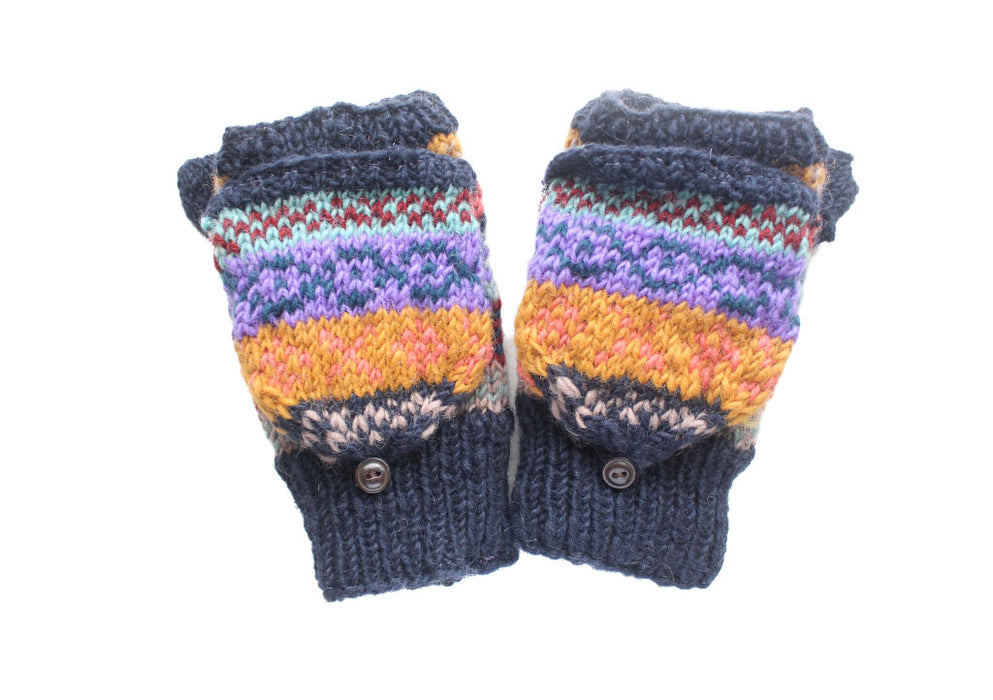 Dark Blue Pure Wool Convertible Mittens - nepacrafts