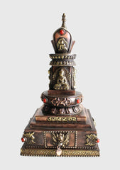 Copper Buddha Stupa with Incense Burner - NepaCrafts