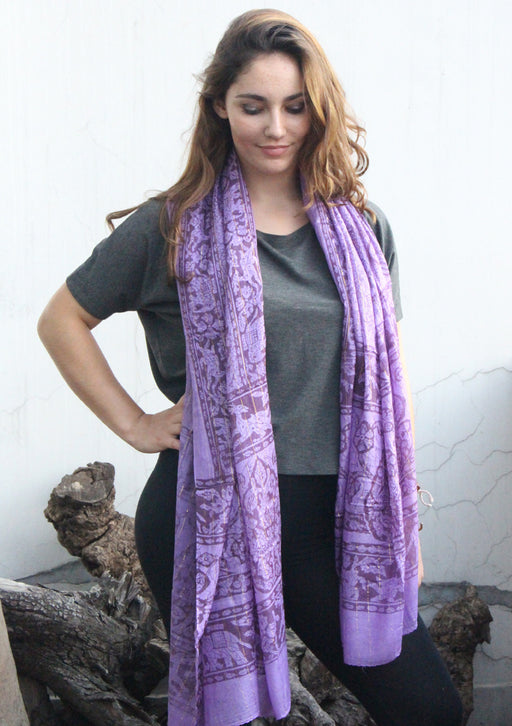 Purple Cotton Summer Scarf with Elephant and Deer Print From Nepal - nepacrafts