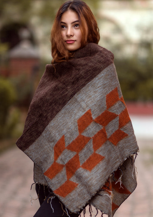 Grey Orange Himalayan 100% Pure Woolen Shawls Nepal - nepacrafts