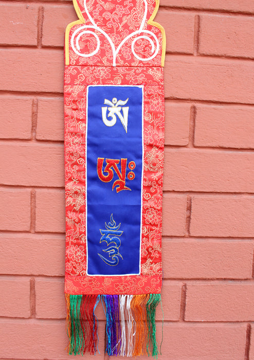 Buddhist Ritual Wall Hanging Banner Embroidered with Om Ah Hum - nepacrafts