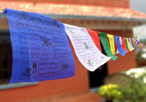 Large Tibetan Windhorse Prayer Flag, 25 Sheets of Tibetan Lungta - nepacrafts