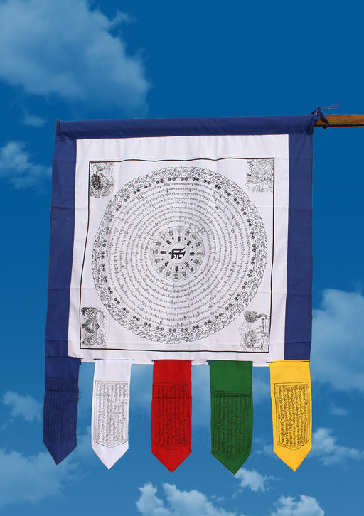White Color Namgyalma Powerful Mantra Printed Cotton Prayer Flags