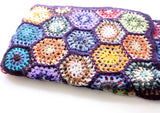 Soft & luxurious Lavender Edges Colorful Motif Pattern Hand Crochet Woolen Blanket/Throw - NepaCrafts