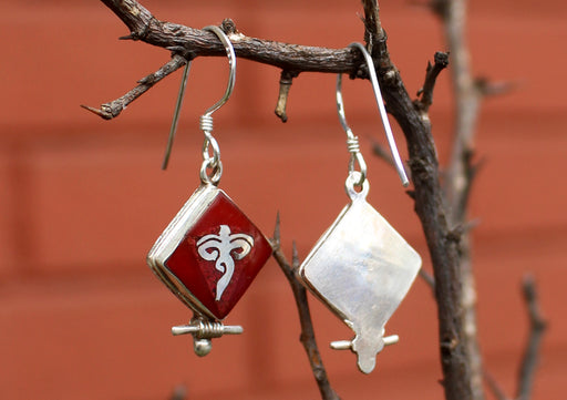 Square Shaped Coral Inlaid Buddha Eyes Silver Earrings - nepacrafts
