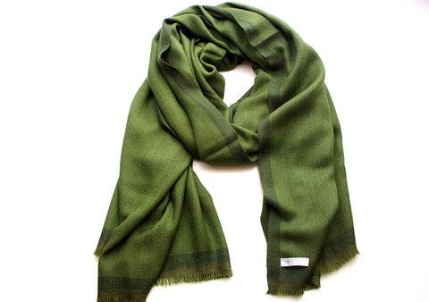 100 % Exclusive Green Cashmere Shawl with Border Herringbone Pattern