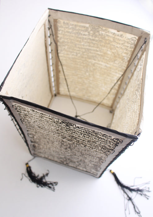 Natural Lokta Paper Tibetan Mantras White Lamp Shade/ Light Shade - nepacrafts