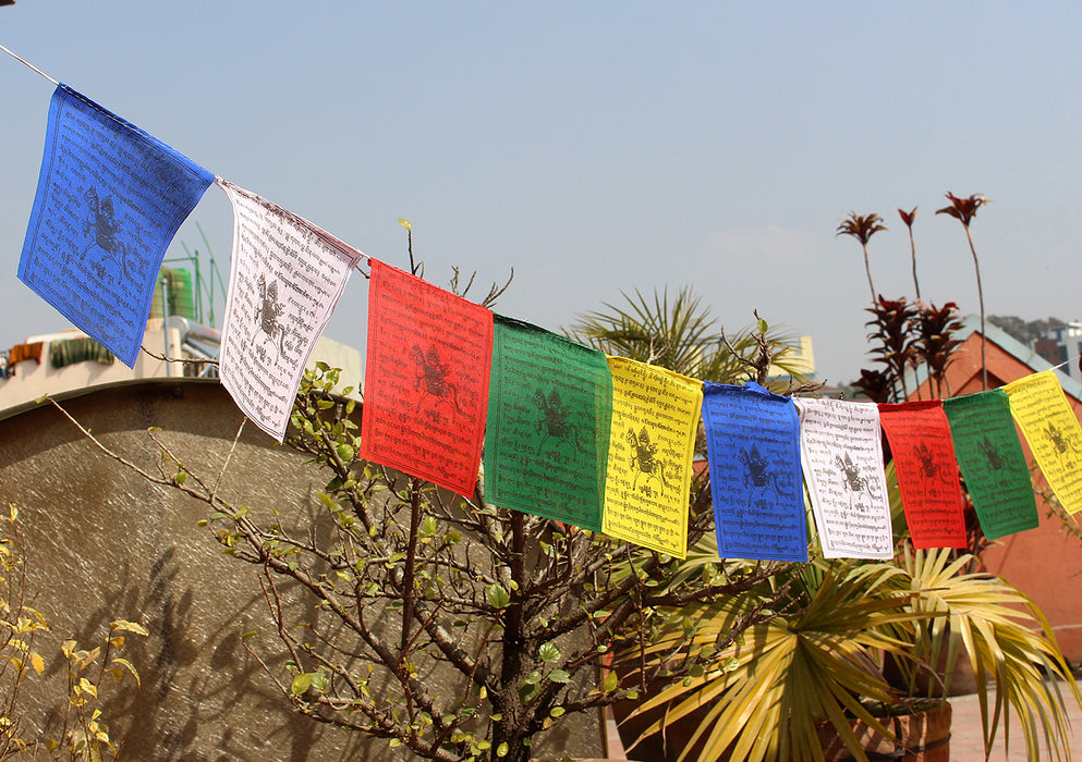 Cotton Windhorse Prayer Flags, Medium Tibet Flags, Single Roll