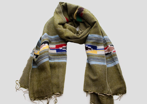 Sky Blue Border Olive Green Handloomed Yak Wool Shawl - nepacrafts