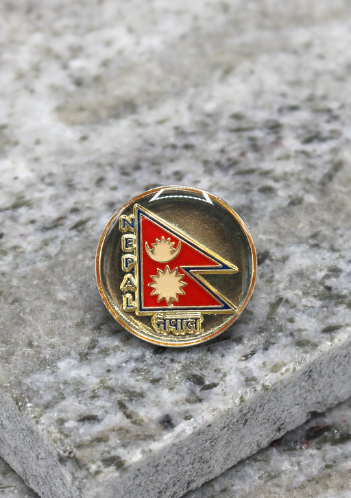 Round Nepal Flag Lapel Pin Badge - nepacrafts