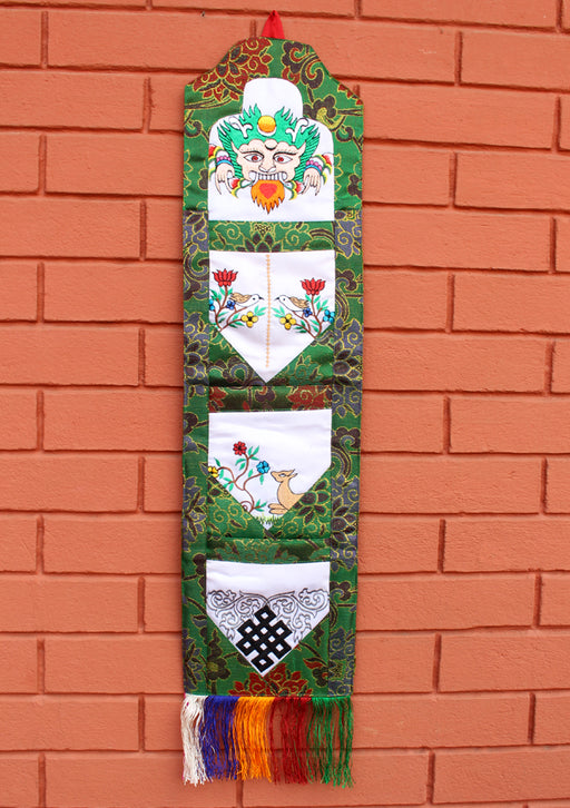 Embroidered Letter Case Brocade Tibetan Hanging Banner - nepacrafts