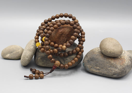 Wooden Beads Mala with Yellow Agate Counter - nepacrafts