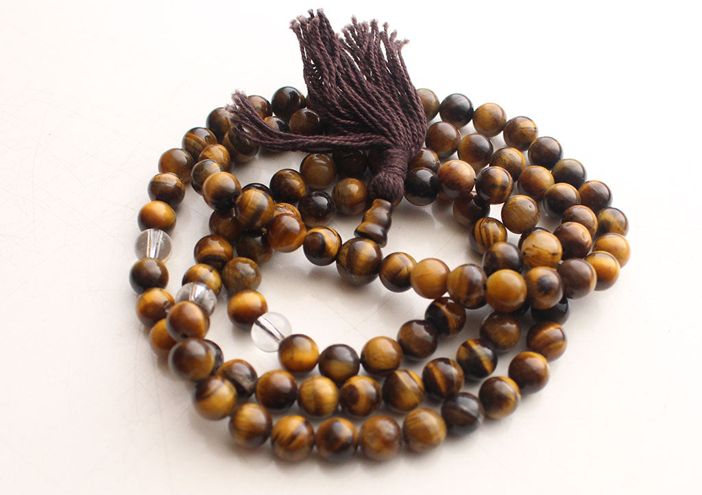 Glossy Tigers Eye Stone Buddhist 108 Prayer Beads Necklace with Spacer - nepacrafts