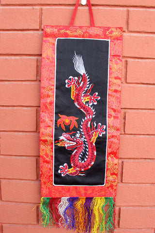 Polyester Brocade Dragon Banner