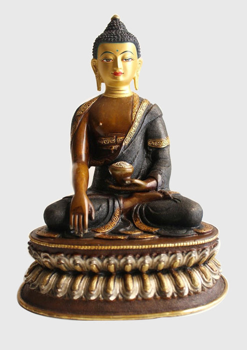 "Copper Oxidized Shakyamuni Buddha Statue of 8.6"" High, MST364 - nepacrafts"