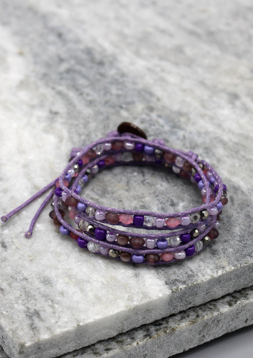 Crystal and Glass Beaded Purple Three Wraps Bracelet - nepacrafts