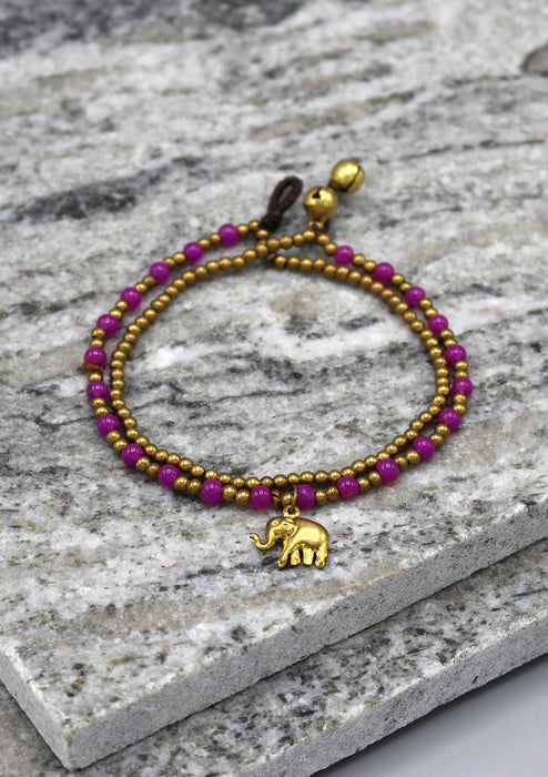 Elephant Charm and Colorful Beads Women's Anklet - nepacrafts