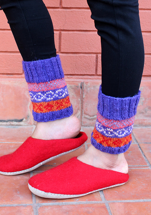 Warm and Soft Dark Blue Multicolor Legwarmers - nepacrafts